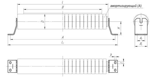 Схема роликоопора верхняя прямая
