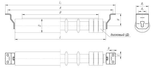 Схема нижней прямой (плоской) роликоопоры