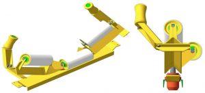 Роликоопоры верхние желобчатые центрирующие с вынесенным средним роликом