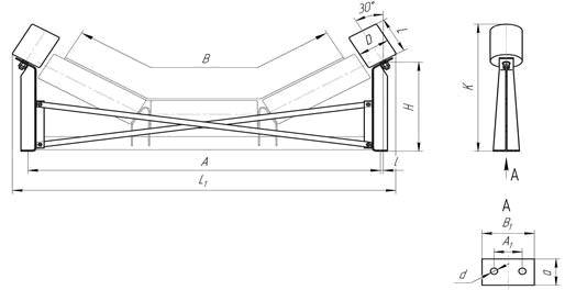 Схема дефлекторной верхней желобчатой роликоопоры