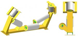 Роликоопоры верхние желобчатые с вынесенным средним и дефлекторными роликами